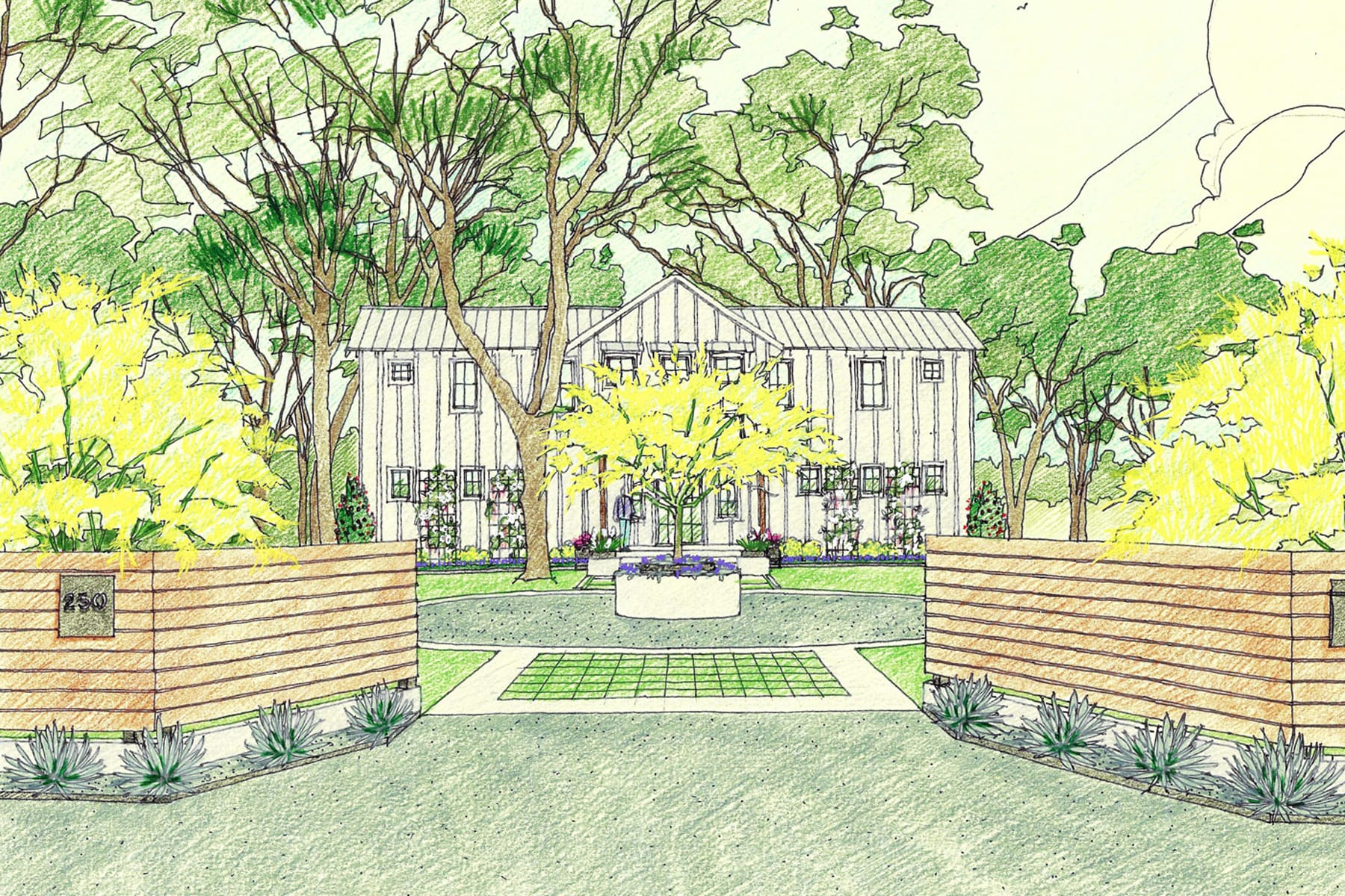 architectural landscape design rendering drawing