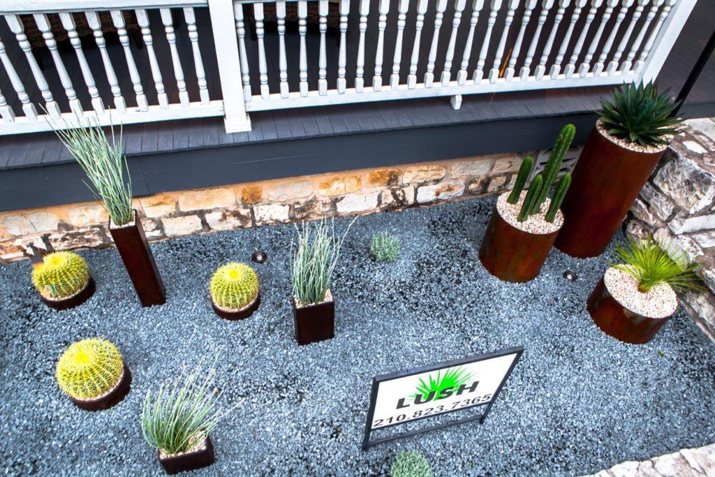 Jackalope Boutique custom landscape design by LUSH Greenscape Design in New Braunfels, TX