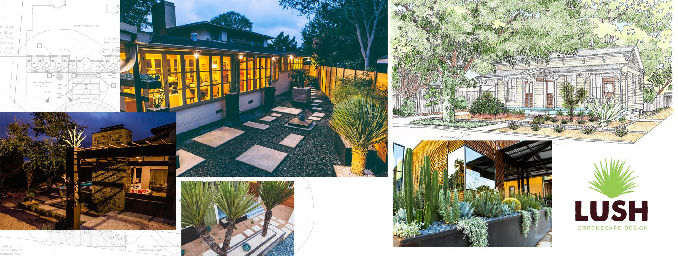 Collage of landscape design project photos