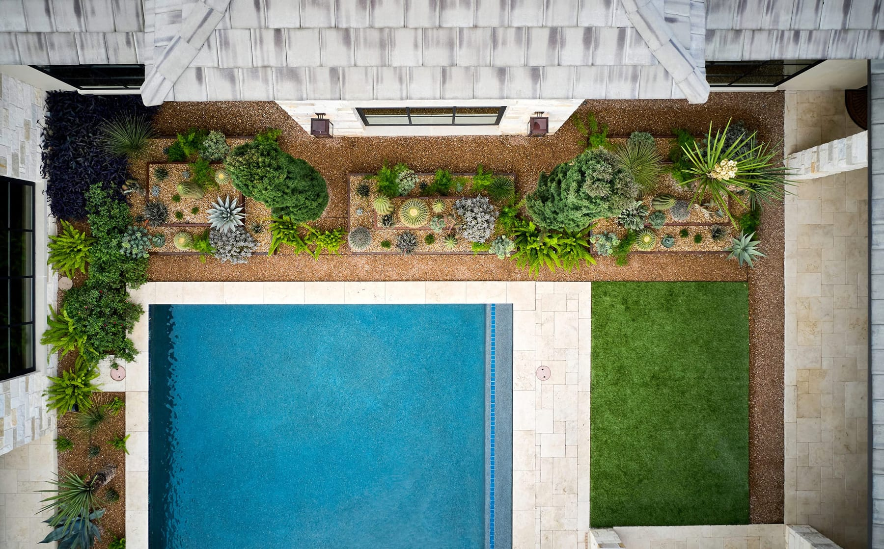 Blanton Residence sustainable landscape design in Gruene, TX by LUSH GreenScape Design