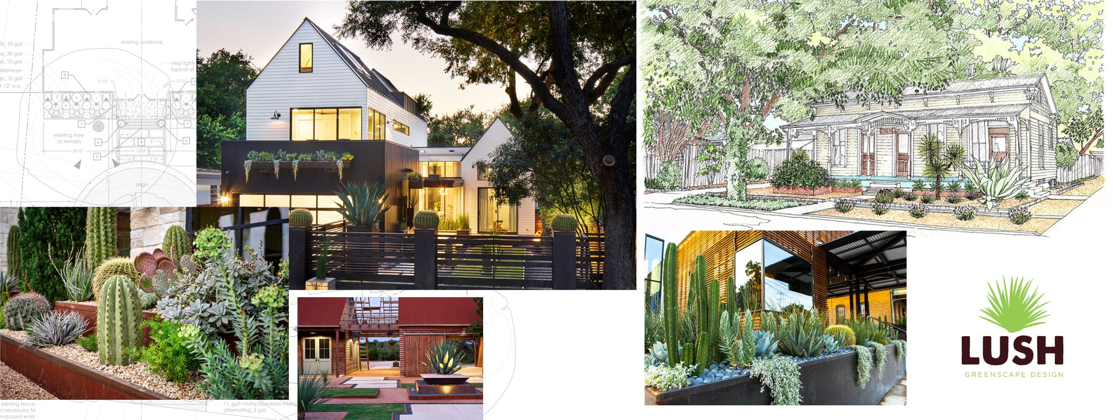 Lush GreenScape Design sustainable landscape design build collage header image
